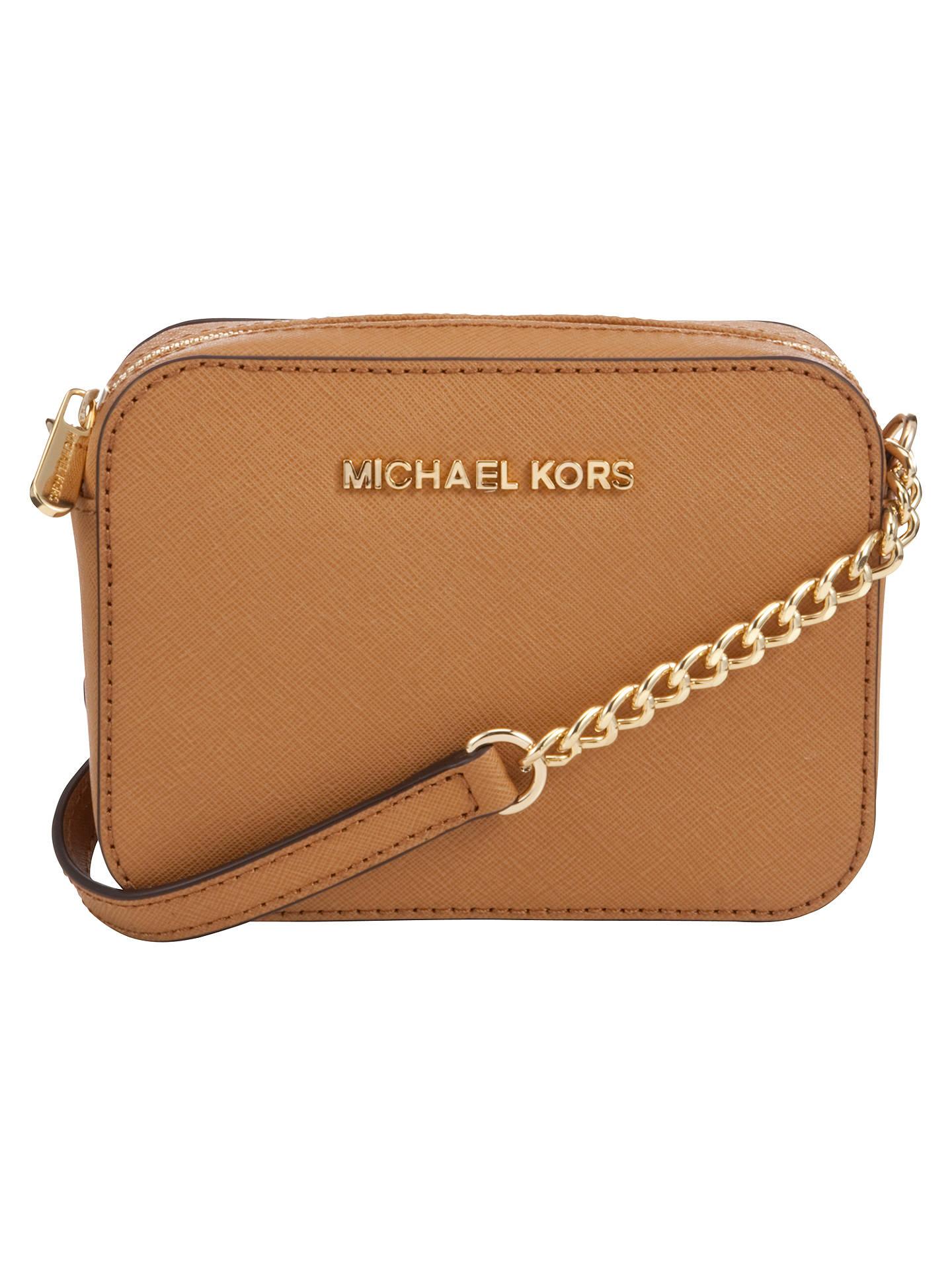 14c9f90bd04c9c Buy MICHAEL Michael Kors Jet Set Travel Leather Crossbody Bag, Peanut  Online at johnlewis.