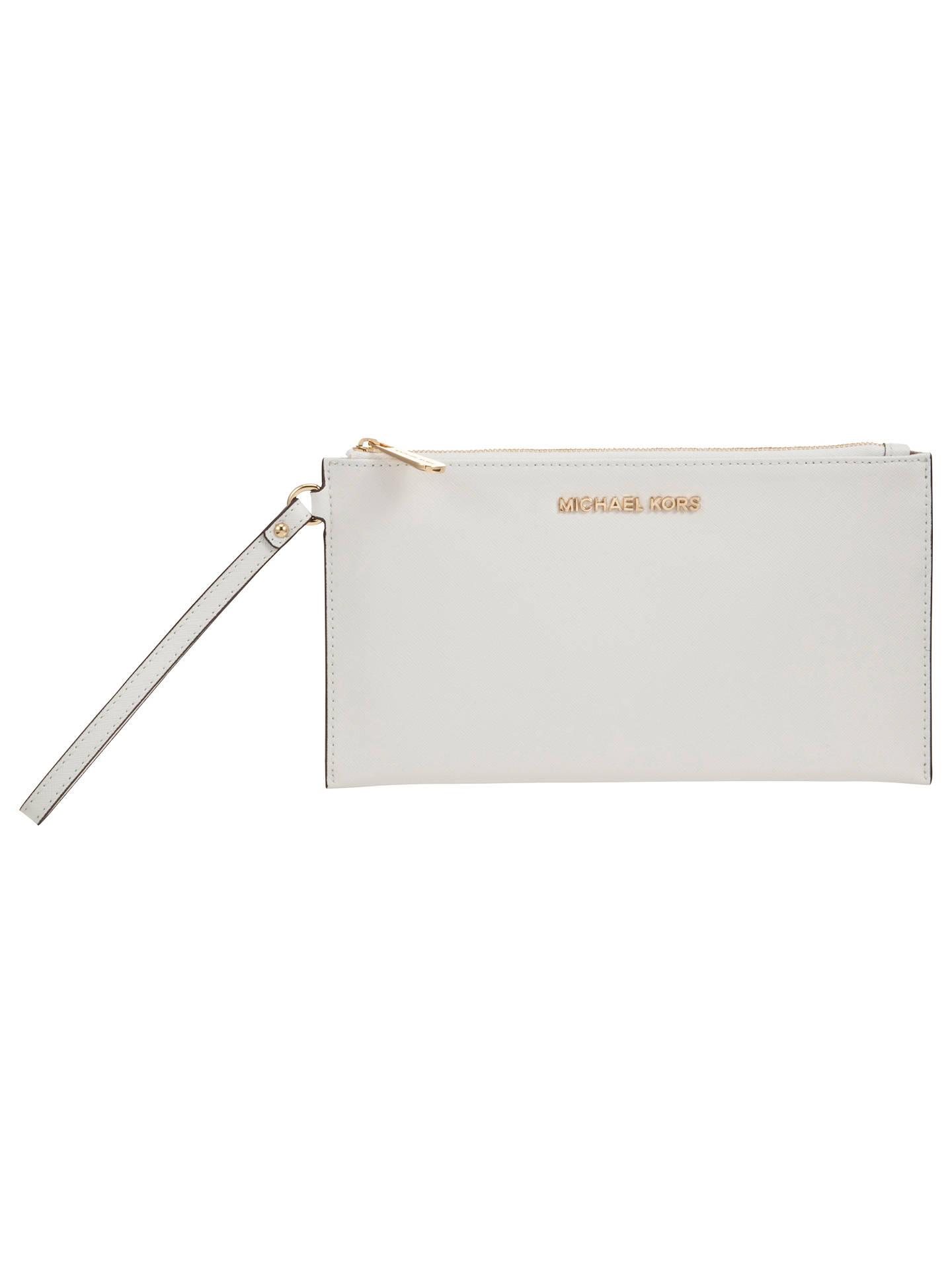 6549c961a8a0 Buy MICHAEL Michael Kors Jet Set Travel Zip Leather Clutch Bag, White  Online at johnlewis ...