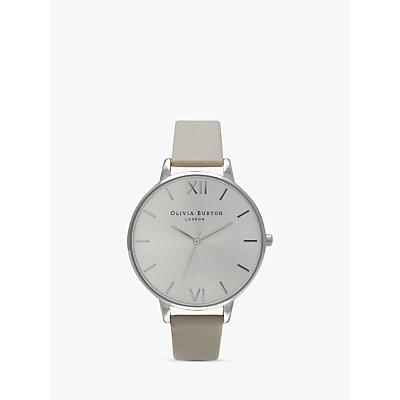 Olivia Burton OB15BD57 Women's Big Dial Leather Strap Watch, Grey/Silver