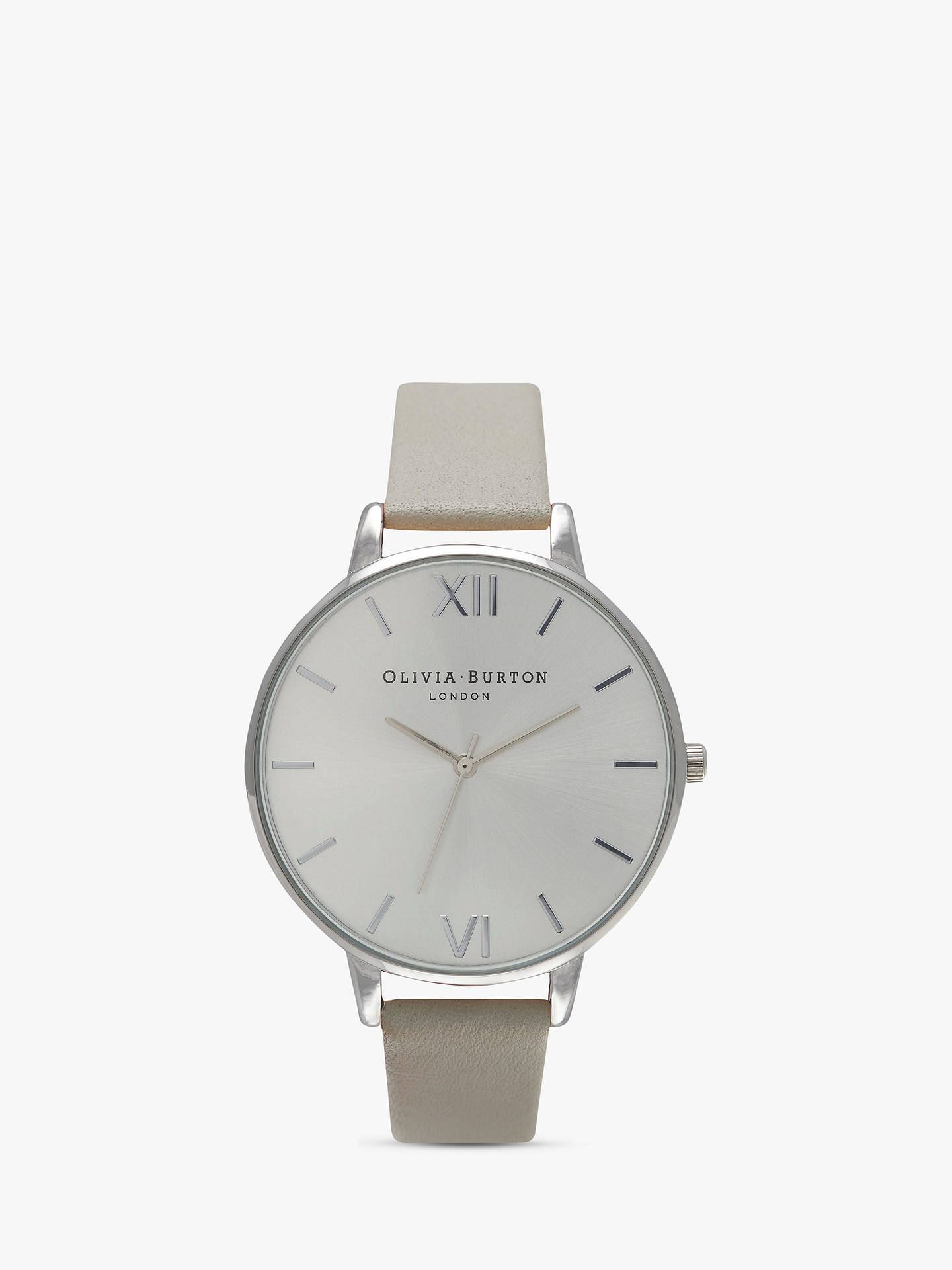 590b81c82 Buy Olivia Burton OB15BD57 Women's Big Dial Leather Strap Watch, Grey/Silver  Online at ...