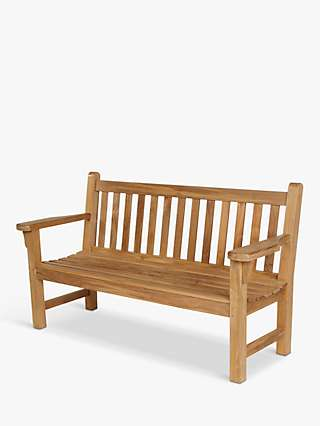 Barlow Tyrie London 3-Seat Teak Wood Garden Bench, Natural