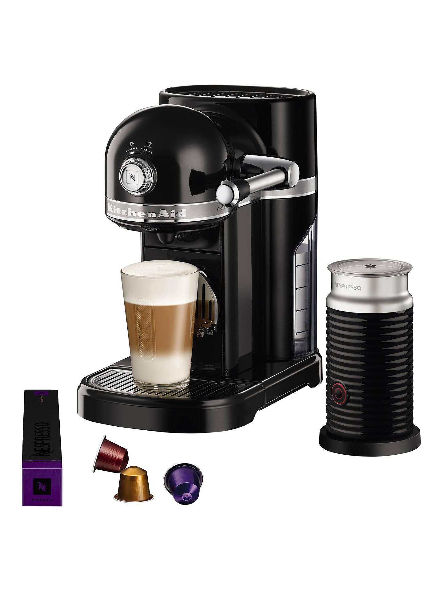 Nespresso Artisan Coffee Machine with Aeroccino by KitchenAid, Onyx Black