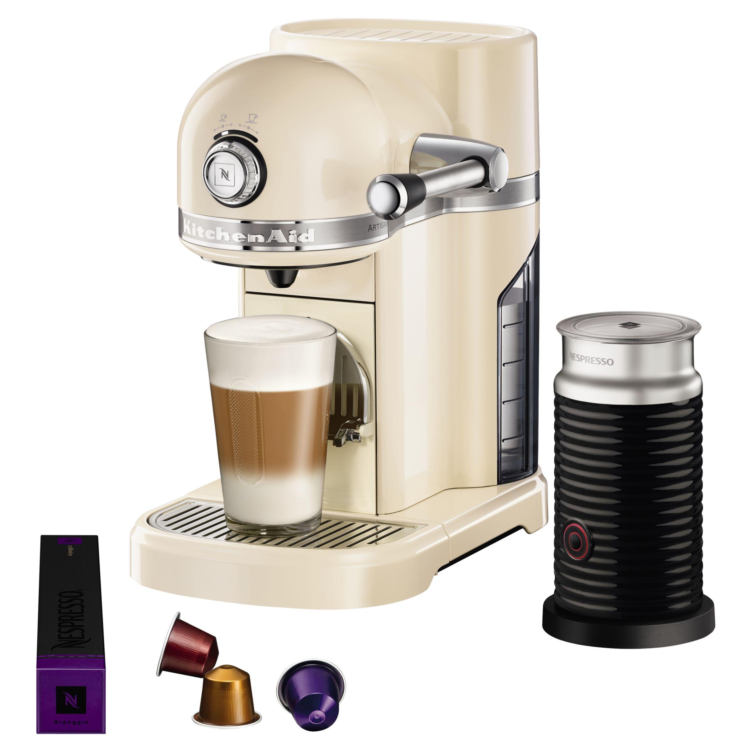 Nespresso Artisan Coffee Machine With Aeroccino By Kitchenaid Almond Cream