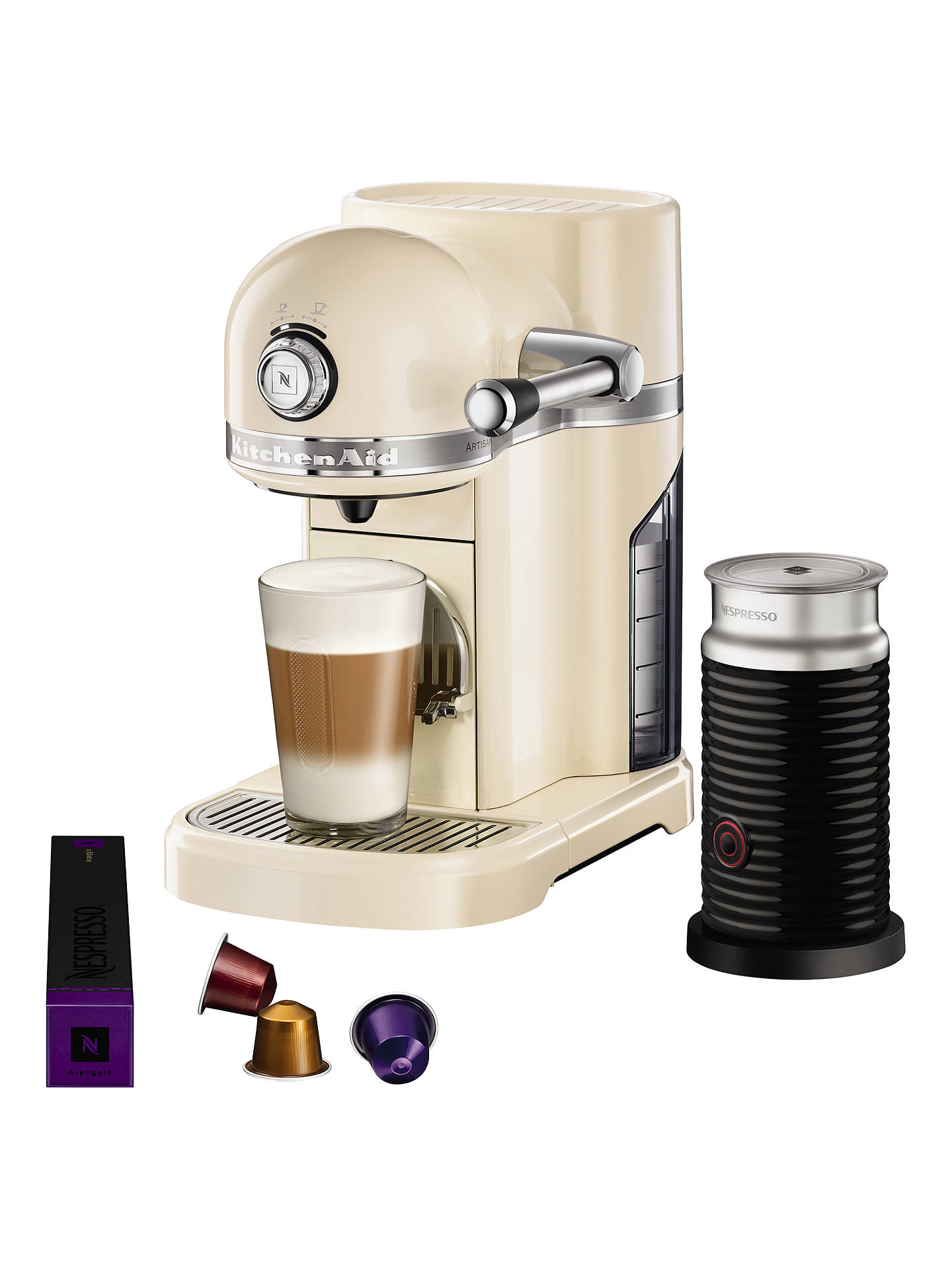 Buy Nespresso Artisan Coffee Machine with Aeroccino by KitchenAid, Almond Cream Online at johnlewis.com