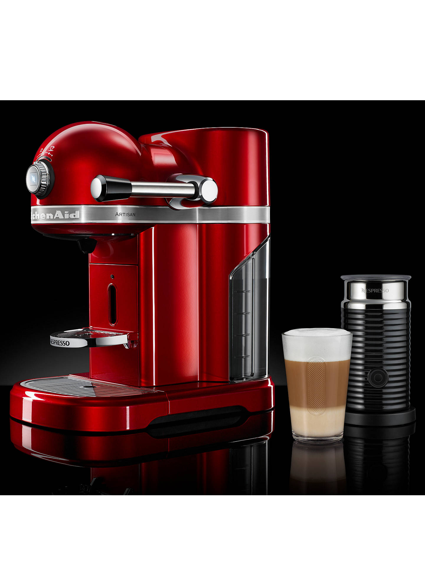 BuyNespresso Artisan Coffee Machine with Aeroccino by KitchenAid, Candy Apple Red Online at johnlewis.com