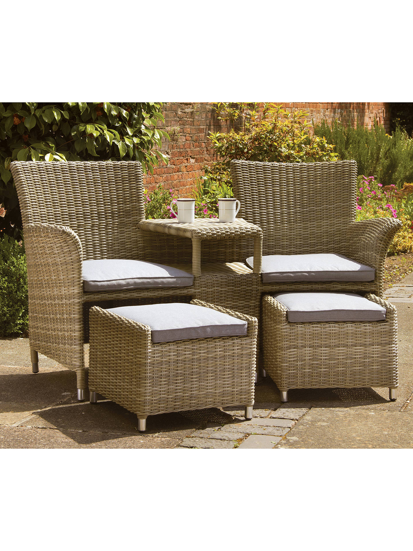 Buy Royalcraft Wentworth Garden Love Seat with Footstools Online at johnlewis.com