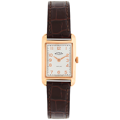 Rotary LS02699/01 Women's Portland Leather Strap Watch, Brown/White