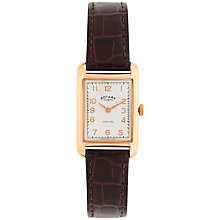 Buy Rotary LS02699/01 Women's Portland Leather Strap Watch, Brown/White Online at johnlewis.com