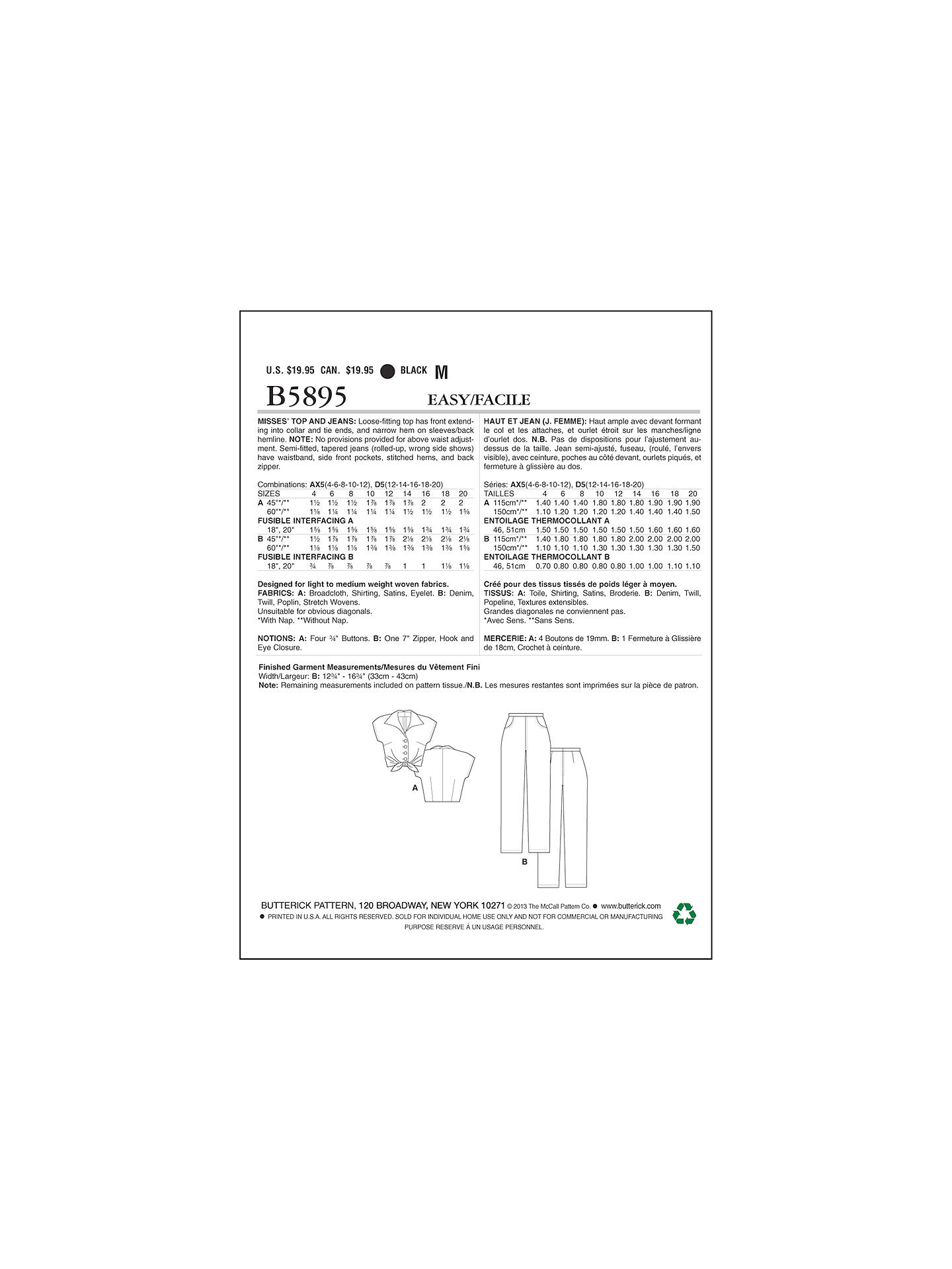 Butterick Women\'s Tie Top and Cropped Jeans Sewing Pattern, 5895 at ...