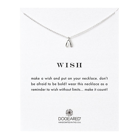 Buy Dogeared Sterling Silver Wish Teeny Wishbone Reminder Reminder Necklace, Silver Online at johnlewis.com