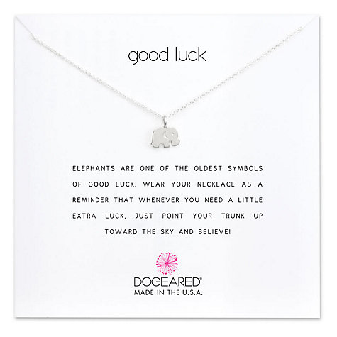 Buy Dogeared Sterling Silver Good Luck Elephant Reminder Pendant Necklace, Silver Online at johnlewis.com