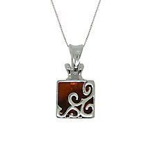 Buy Goldmajor Sterling Silver Amber Trellis Pendant, Silver/Amber Online at johnlewis.com