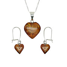 Buy Goldmajor Sterling Silver Amber Heart Pendant and Earring Set, Silver/Amber Online at johnlewis.com