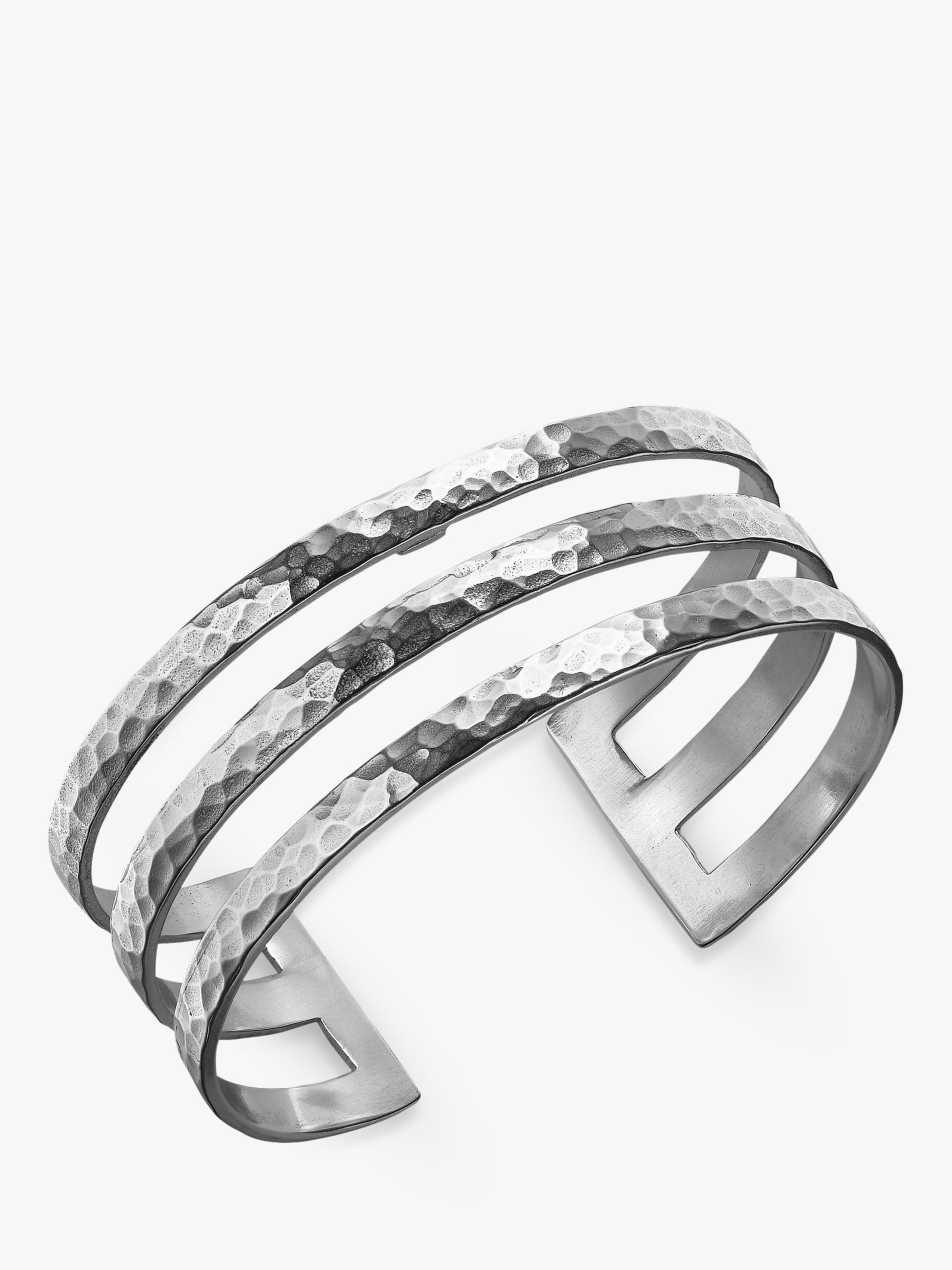 Dower & Hall Dower & Hall Sterling Silver Triple Cuff, Silver, 25mm