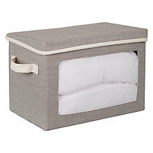 Buy John Lewis Chambray Lidded Storage Box with Handle, Grey Online at johnlewis.com