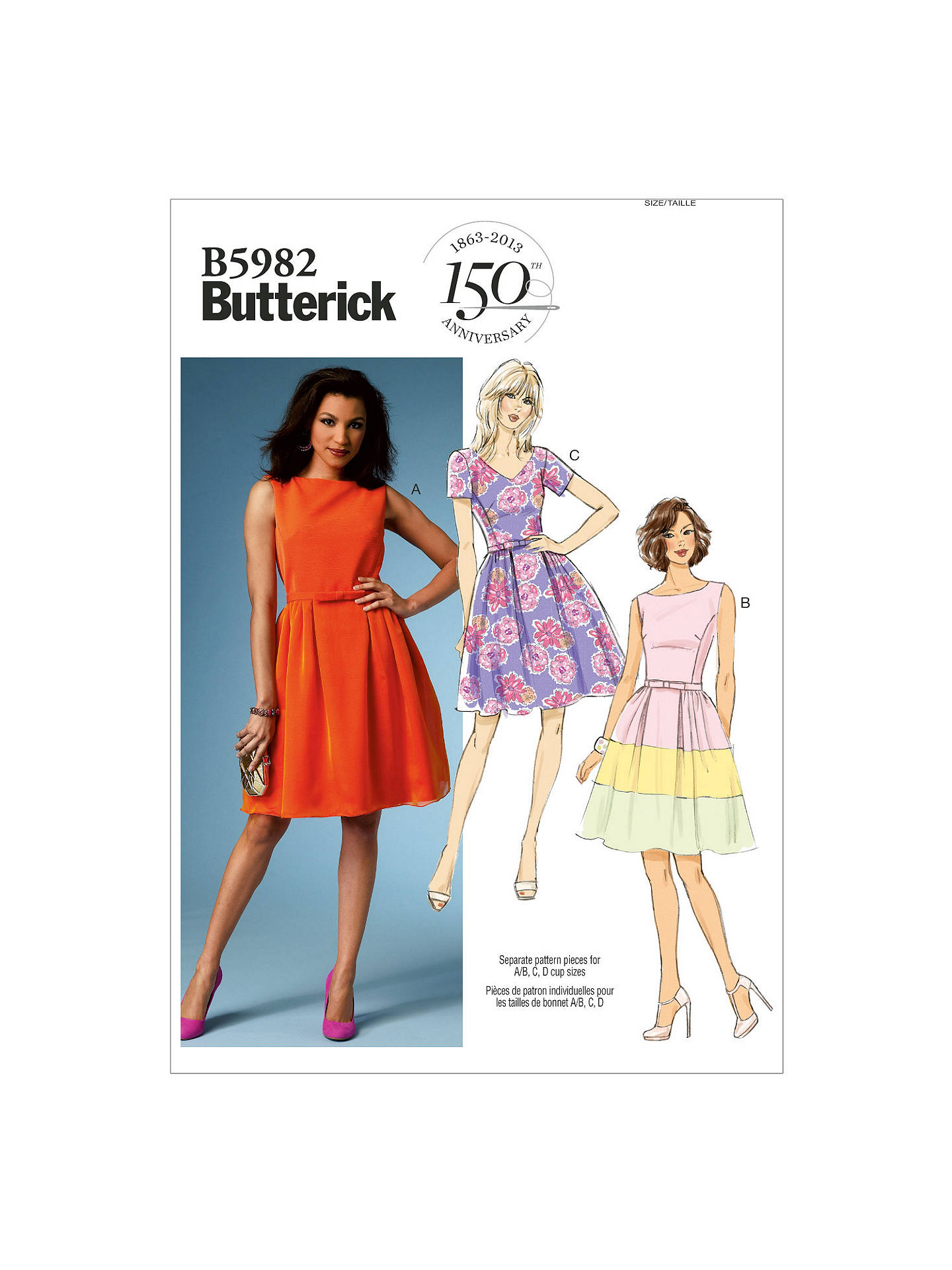 cf7cf5e966f0 Buy Butterick Women's Petite Summer Dress Sewing Pattern, 5982, B5 Online  at johnlewis.
