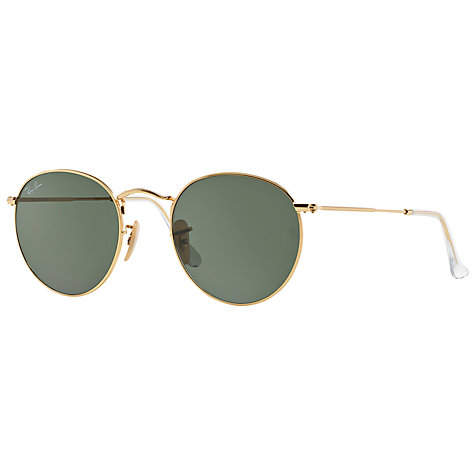Buy Ray-Ban RB3447 Round Metal Sunglasses, Gold/Green Online at johnlewis.com