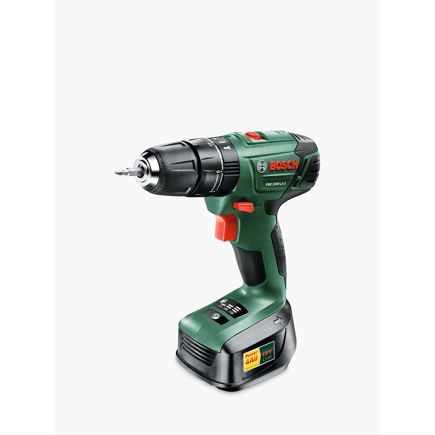 BuyBosch PSB 1800 Lithium-ion Cordless Two-Speed Combi Drill Online at johnlewis.com