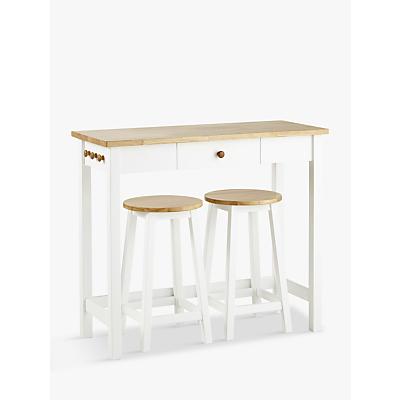 John Lewis Adler Bar Table & Stools, White/Oak