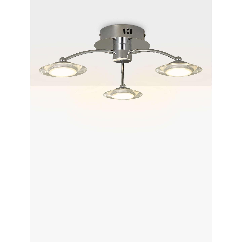 John Lewis Jasper 3 Arm LED Ceiling Light, Chrome At John
