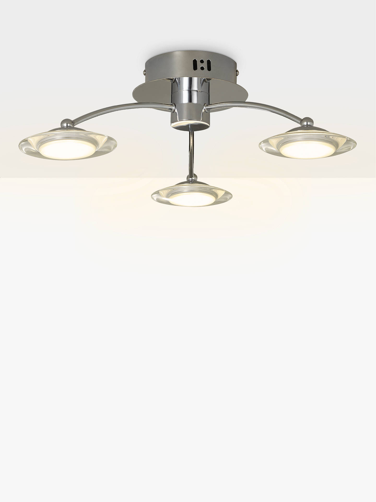 Buy John Lewis & Partners Jasper LED Semi Flush 3 Arm Ceiling Light, Chrome Online at johnlewis.com