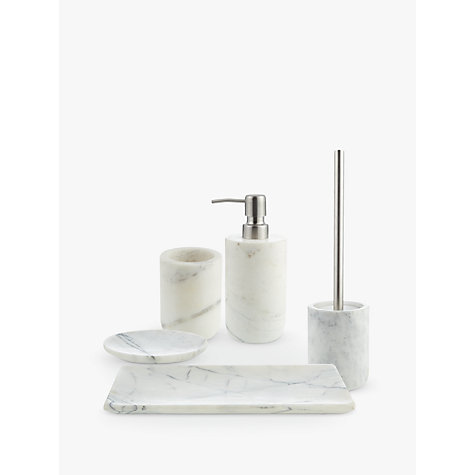 Buy john lewis white marble bathroom accessories john lewis for Pink grey bathroom accessories