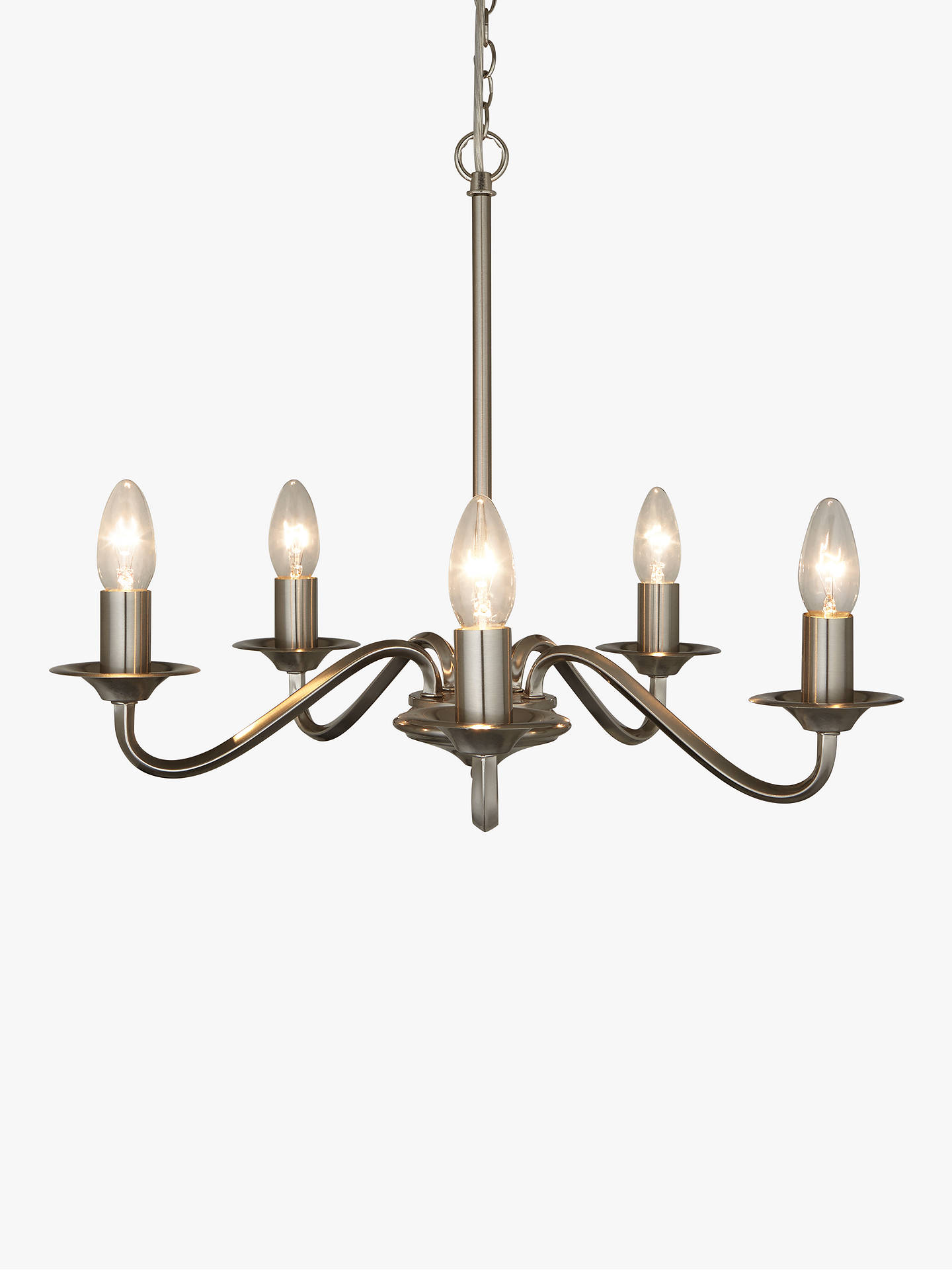 John Lewis Partners Wakefield Chandelier Ceiling Light 5 Satin Nickel At