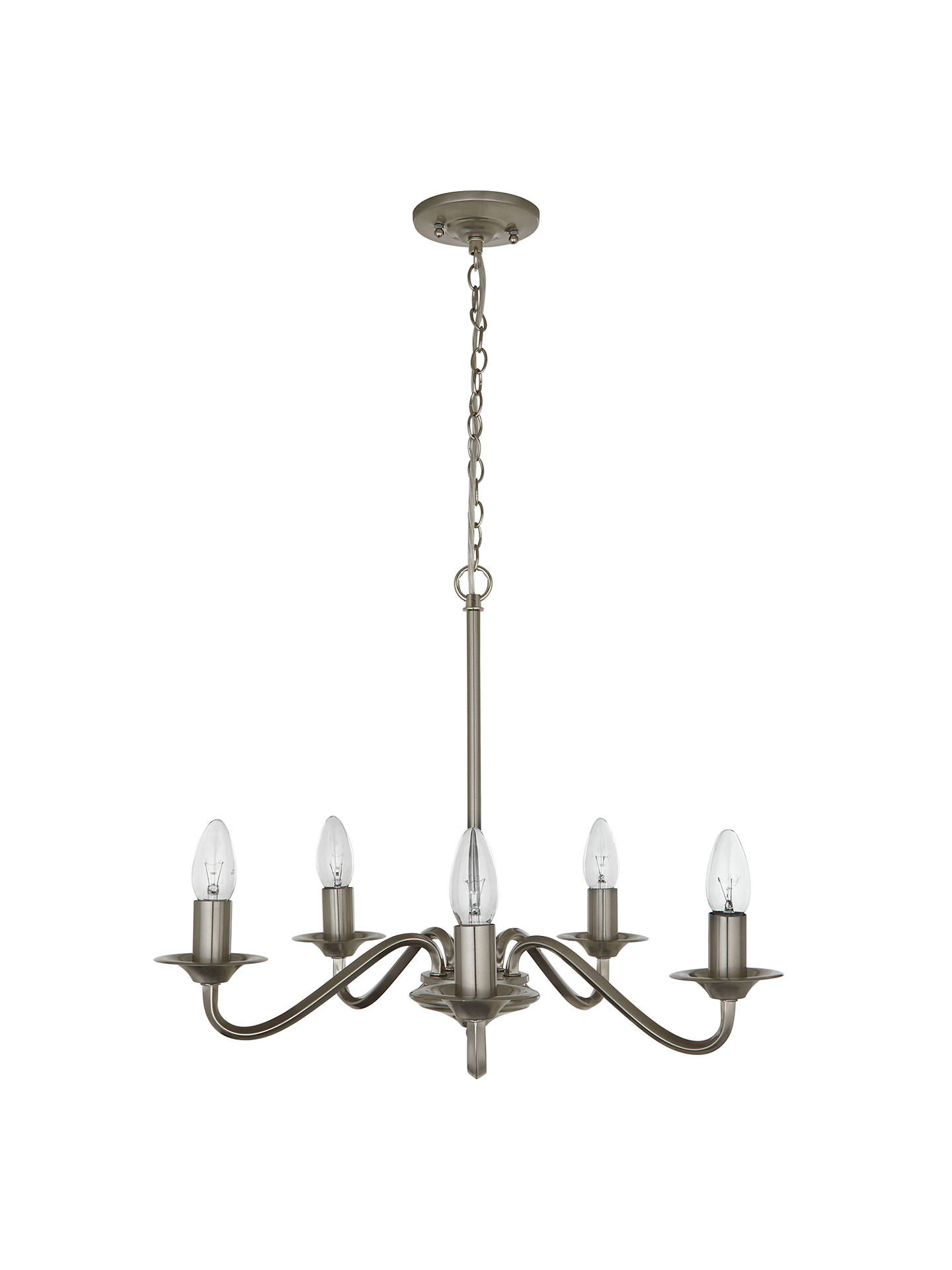 BuyJohn Lewis & Partners Wakefield Chandelier Ceiling Light, 5 Light, Satin Nickel Online at johnlewis.com