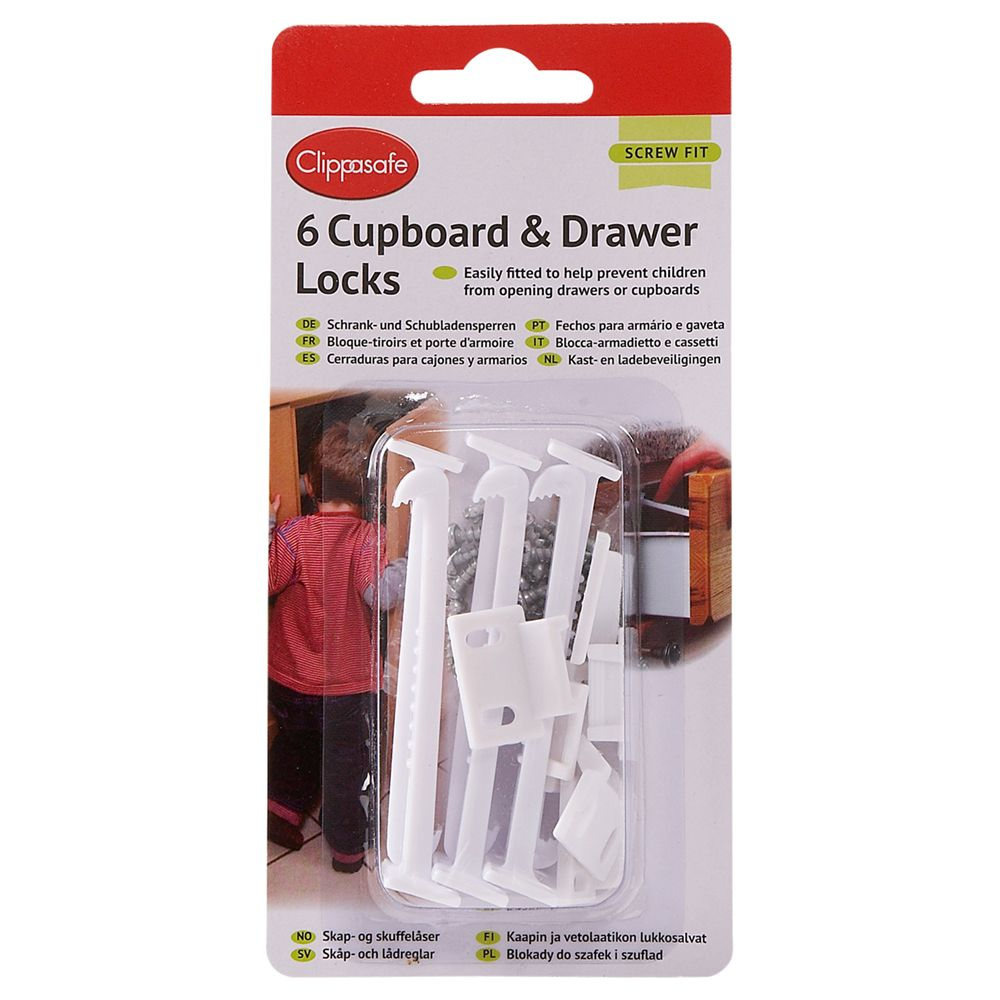 Clippasafe Clippasafe Cupboard & Drawer Locks, Pack of 6, White