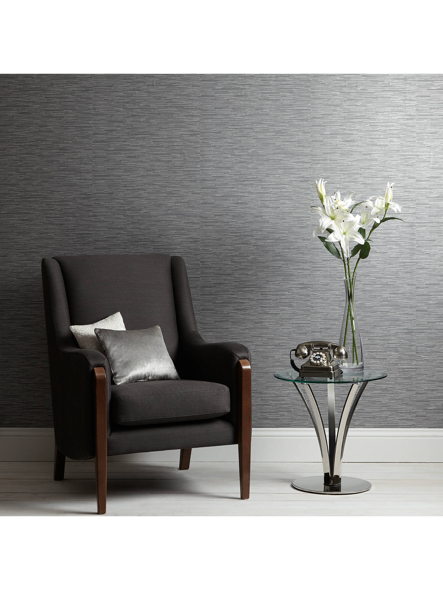 BuyJohn Lewis & Partners Denton Vinyl Wallpaper, Pewter Online at johnlewis.com
