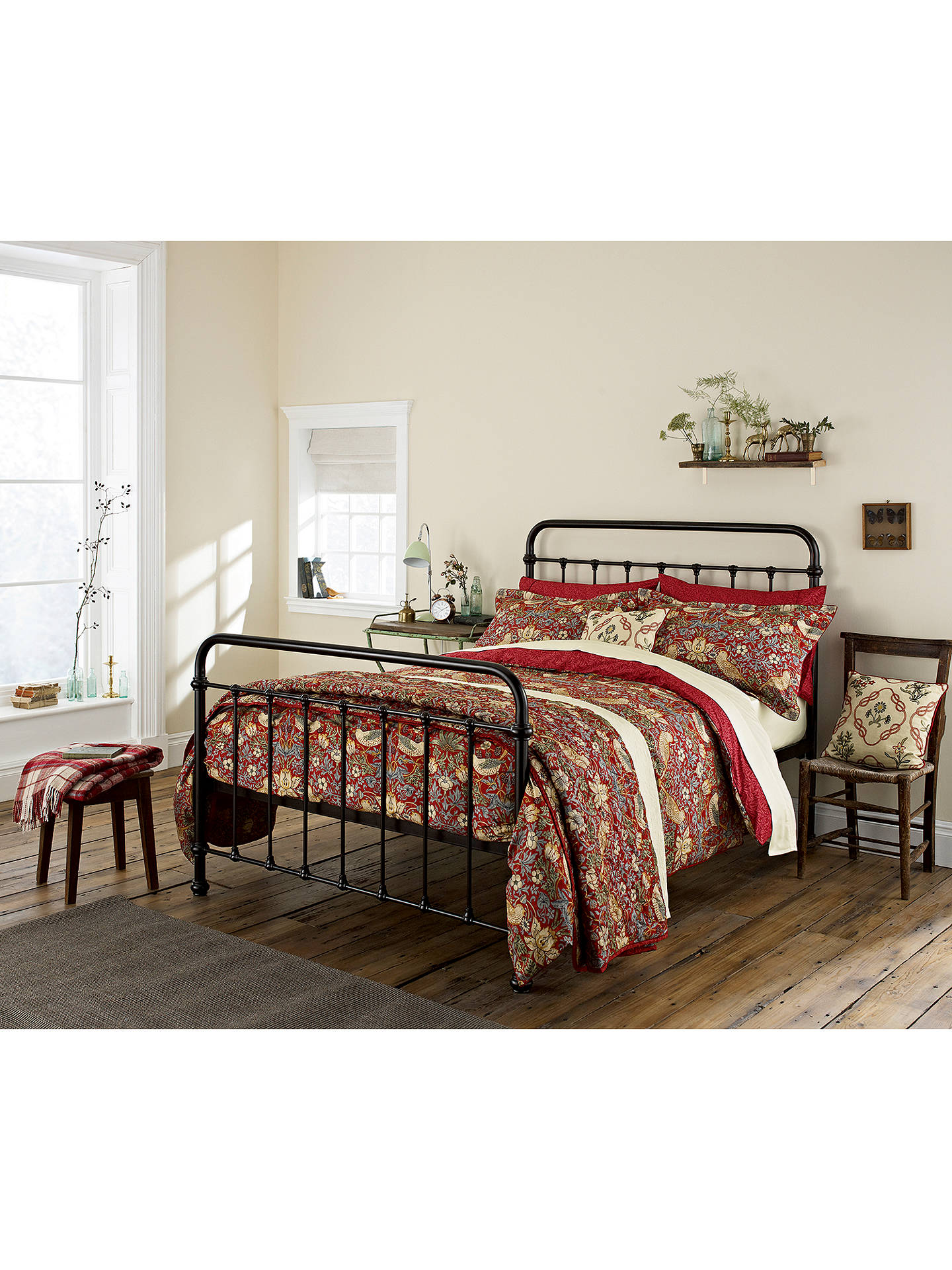 BuyMorris & Co. Strawberry Thief Bedspread, Red Online at johnlewis.com
