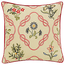 Buy Morris & Co Strawberry Thief Embroidered Cotton Cushion Online at johnlewis.com