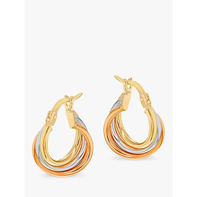 IBB 9ct Gold Three Colour Hoop Earrings, Multi