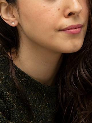 IBB 9ct Yellow Gold Cubic Zirconia Stud Earrings, Yellow Gold