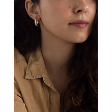 Buy IBB 9ct Yellow Gold Diamond Cut Creole Earrings, Gold Online at johnlewis.com