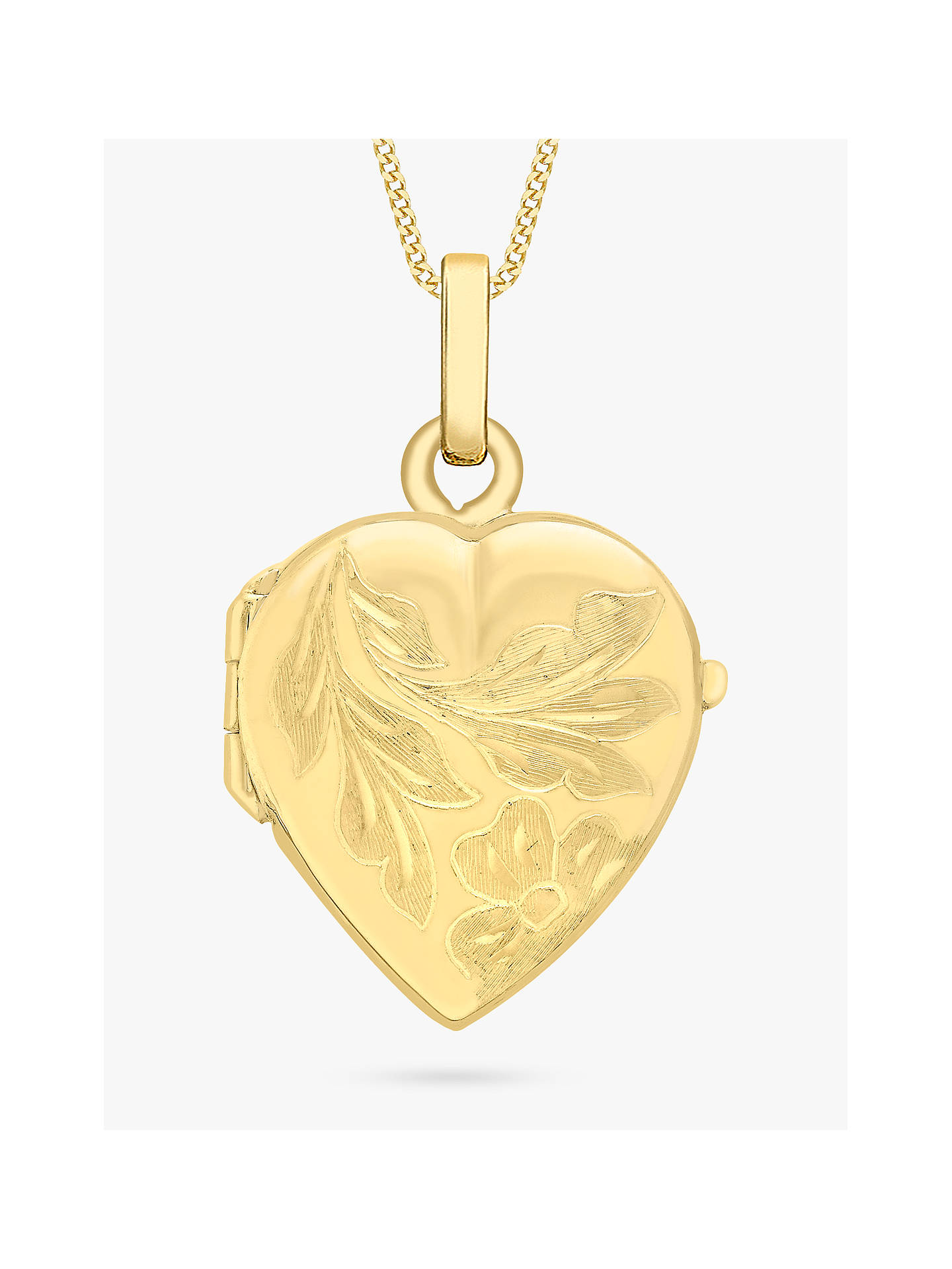 Ibb 9ct Gold Flower Heart Locket Pendant Necklace Gold At