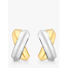 Buy IBB 9ct Gold Two Colour Crossover Kiss Stud Earrings, Gold/White Gold Online at johnlewis.com