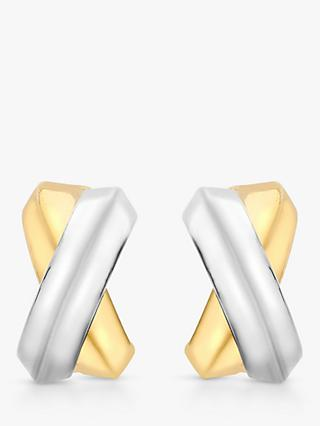 IBB 9ct Gold Two Colour Crossover Kiss Stud Earrings, Gold/White Gold