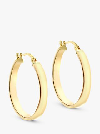 IBB 9ct Yellow Gold Creole Hoop Earrings, Gold