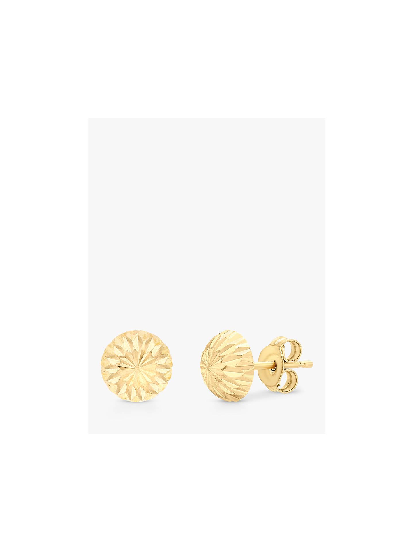 0eb19d18b Buy IBB 9ct Gold Diamond Cut Half Ball Stud Earrings, Gold Online at  johnlewis.