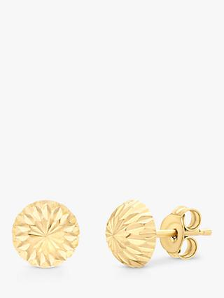 IBB 9ct Gold Diamond Cut Half Ball Stud Earrings, Gold