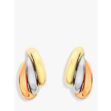 Buy IBB 9ct Gold Three Colour Russian Stud Earrings, Gold Online at johnlewis.com