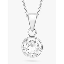 Buy IBB 9ct White Gold Cubic Zirconia Pendant, White Online at johnlewis.com