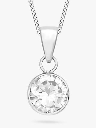 IBB 9ct White Gold Cubic Zirconia Pendant, White