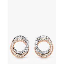 Buy IBB 9ct Two Colour Gold Cubic Zirconia Linked Ring Stud Earrings, White/Rose Gold Online at johnlewis.com