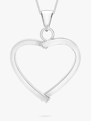 IBB 9ct White Gold Mini Square Tube Heart Pendant, White