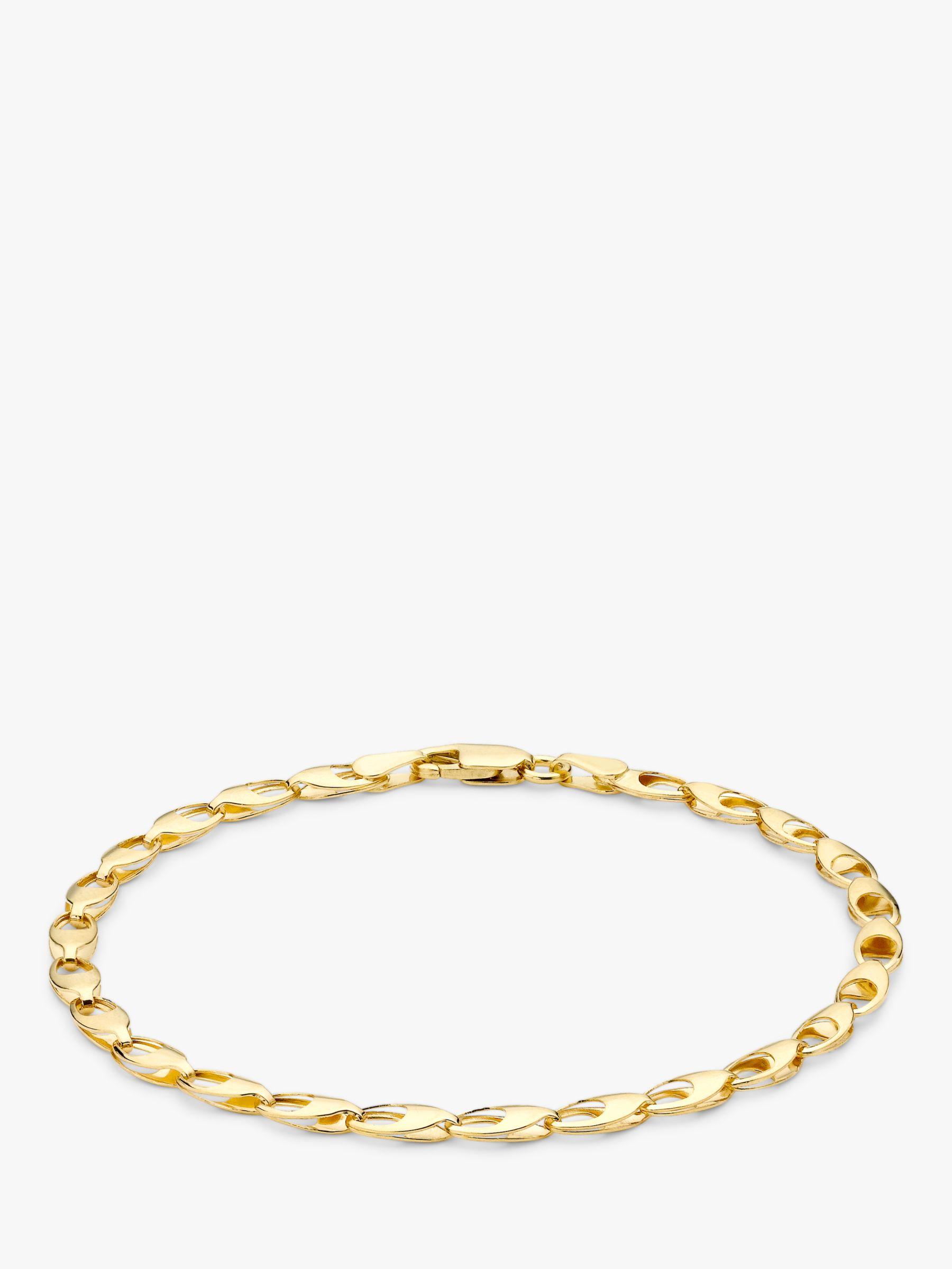 IBB IBB 9ct Gold Oval Link Bracelet, Gold