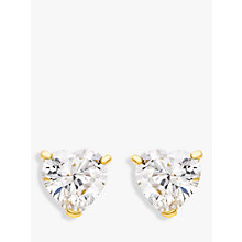 Buy IBB 9ct Gold Cubic Zirconia Heart Stud Earrings, Gold Online at johnlewis.com