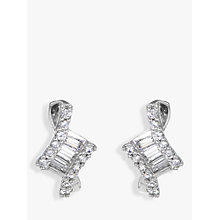 Buy IBB 9ct White Gold Cubic Zirconia Stud Earrings, White Online at johnlewis.com