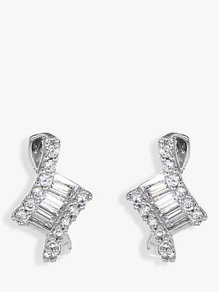 IBB 9ct White Gold Cubic Zirconia Stud Earrings, White